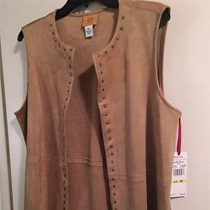 Tan Suede-look Vest